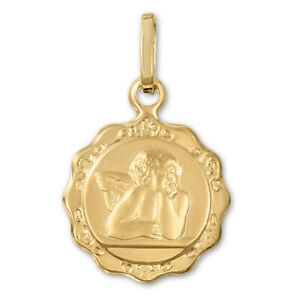 14K-Yellow-Gold-Guardian-Angel-Medallion-Coin-Pendant-Protection-Cherub-Necklace