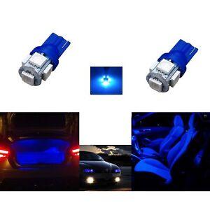 2-AMPOULES-W5W-LED-ECLAIRAGE-PLAQUE-VEILLEUSE-BLEU-XENON-VERSION-5-LEDS