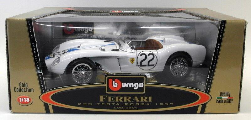 Burago échelle 1 18 Diecast 3307 Ferrari Testa Rossa 1957  22 Blanc Voiture Modèle