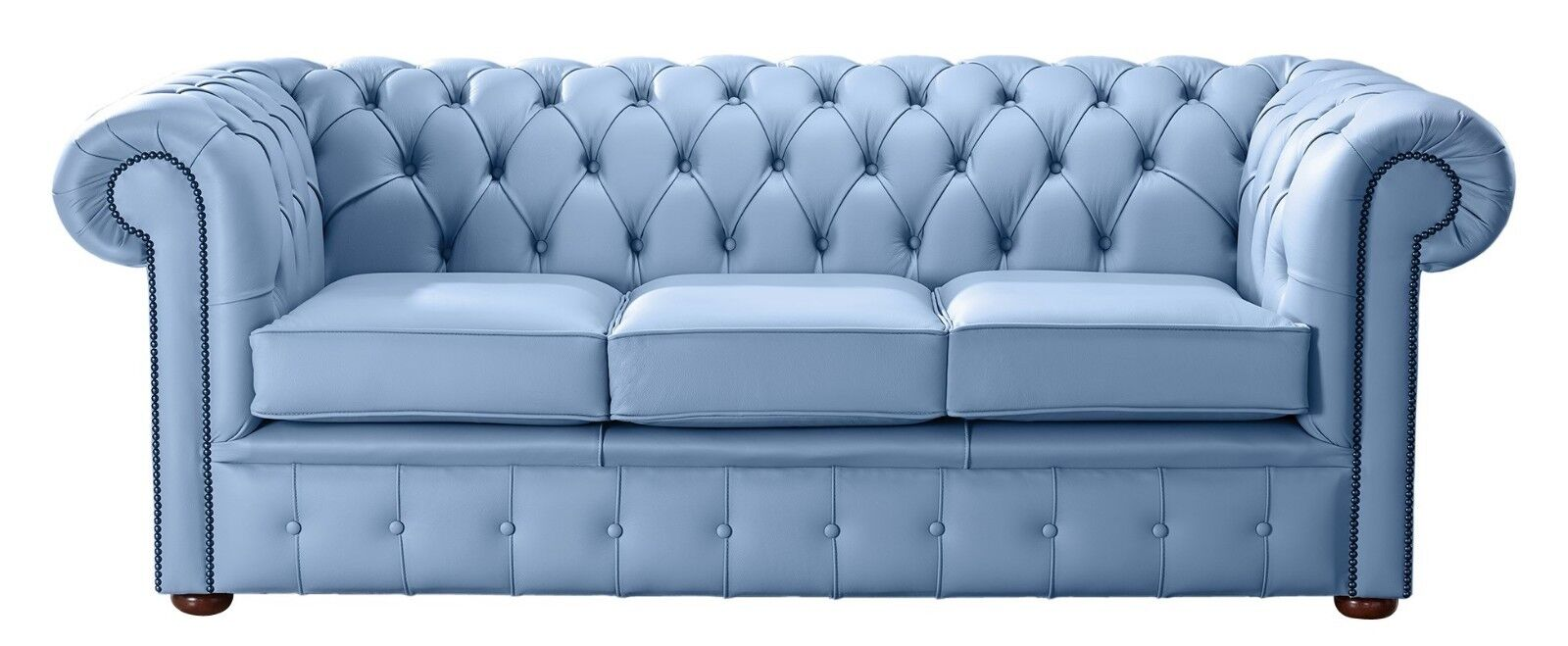Details about Modern Leather Chesterfield Handmade 3 Seater Sofa Settee Shelly Haze Blue
