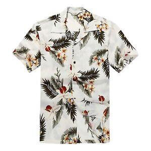 Men-Aloha-Shirt-Cruise-Tropical-Luau-Beach-Hawaiian-Hawaii-Casual-Cream-Leaf