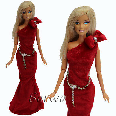 RED Princess Evening Wedding Party Dress Clothes Outfit For Barbie Doll