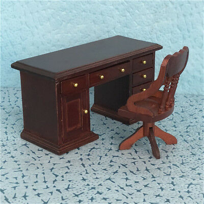 Details About Mini 1 12 Scale Dollhouse Wood Furniture Study Office Desk Decoration Drawers