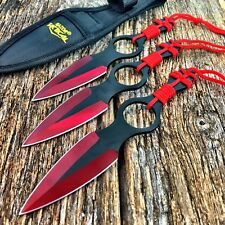 3PC Razor Ninja Tactical RED TITANIUM Naruto Kunai Throwing Knife w/Sheath -W
