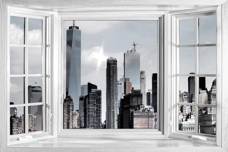 Énorme 3D Fenêtre Vue NYC City Scape Skyline Skyline Skyline Autocollant Mural Poster M2 -- 242 | Beau  1deb56
