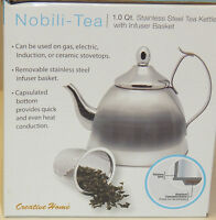 Nobili-tea 1.0 Qt. Stainless Steel Tea Kettle With Infuser Basket Authentic