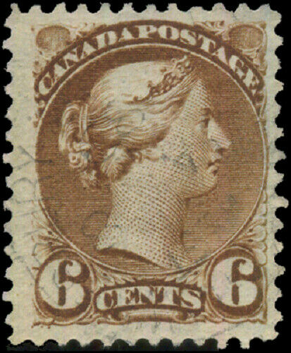 Canada #39 used VF 1872 Queen Victoria 6c yellow brown Small Queen JUMBO