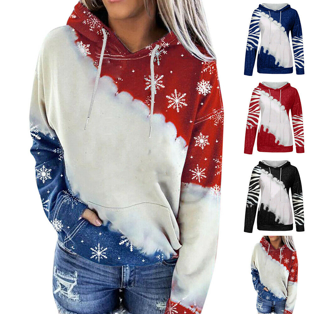 Christmas Women Long Sleeve Floral Hoodie Pullover Autumn Warm Casual Coats Tops