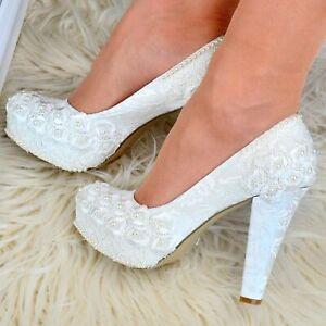 Femmes Chaussures De Mariée Floral Satin Dentelle & Perles Mariage Talon Haut Escarpins Cour Chaussures-afficher Le Titre D'origine