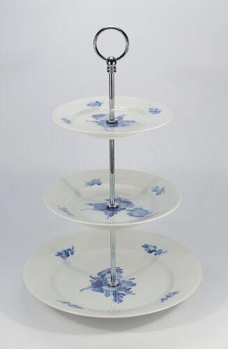 """Royal Copenhagen /""""flor azul liso/"""" etagere 3-alturas"""