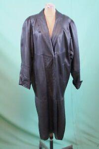 quality design ddf09 76406 Details zu Orig vintage Leder Mantel 44/L Damen schwarz echt 90er nineties  retro lang