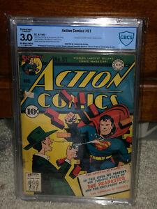 Action-Comics-51-CBCS-3-0-C-DC-1942-Superman-1st-Prankster-Free-CGC-Mylar-cm