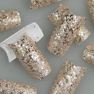 GLITTER-Slice-Rose-Gold-Fashion-Design-False-French-Acrylic-Nail-Tips-New