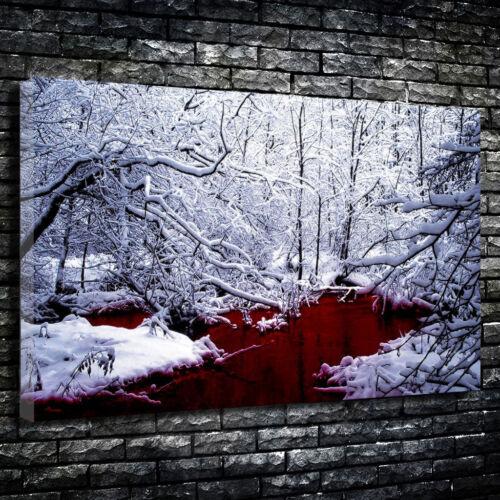 Lago Sangrento Inverno Neve Impresso De Terror Caixa De Lona Foto Vários Tamanhos