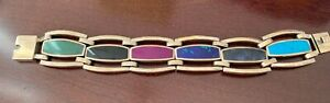 Vintage-925-Sterling-Mexico-Taxco-Heavy-Link-Bracelet-w-Inlaid-Colored-Stones