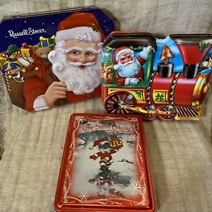 LOT of 3 Vintage 3D Cookie Christmas Tin/Containers Santa & Swiss Colony Mouse