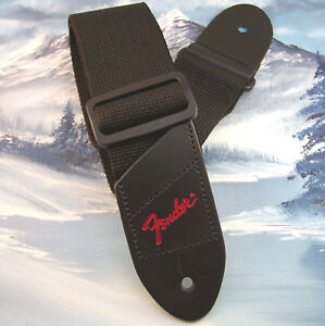 GUITAR-STRAP-GENUINE-FENDER-BLACK-w-RED-LOGO