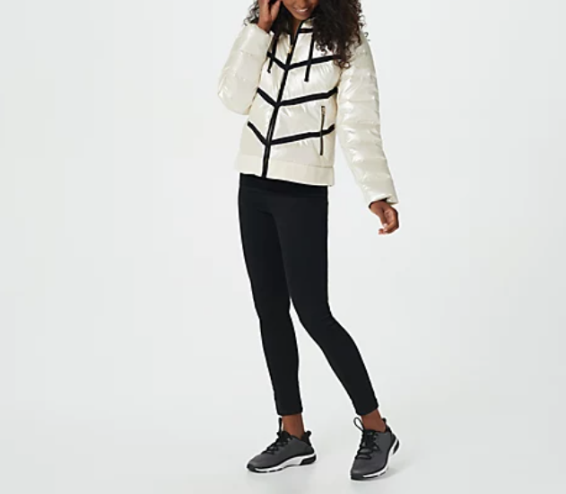 zuda - Quilted Pearlized Puffer Jacket with Hood - Cloud White - Select Size