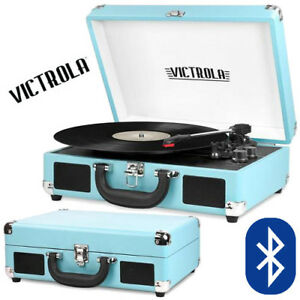 Victrola-Bluetooth-Suitcase-Turntable-Record-Player-Turquois-3-Speed-Aux-550BT