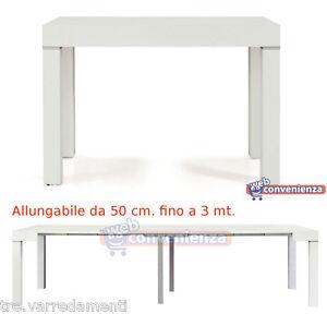 Tavolo Consolle Allungabile Picasso Legno Frassinato Bianco Cm 90x50 300 Piccola Ebay