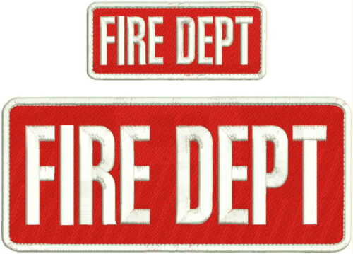 FIRE DEPT EMBROIDERY PATCH 4X10 /& 2X5 HOOK ON BACK  RED//WHITE