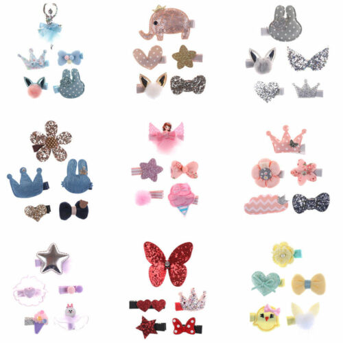 5 Pcs//Set Kids Girls Cartoon Bowknot Hairpins Hair Clips Hair Accessories Gift