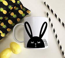Personalised Unbreakable Kids Cup, Modern Easter Bunny Black toddler mug