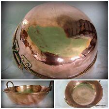 "French antique 16"" professional jam copper bowl saucepan chef cuivre c1800"
