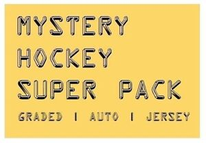 MYSTERY-HOCKEY-SUPER-PACK-CARDS-Graded-Auto-039-d-amp-Jersey-Hits-125-350-BV