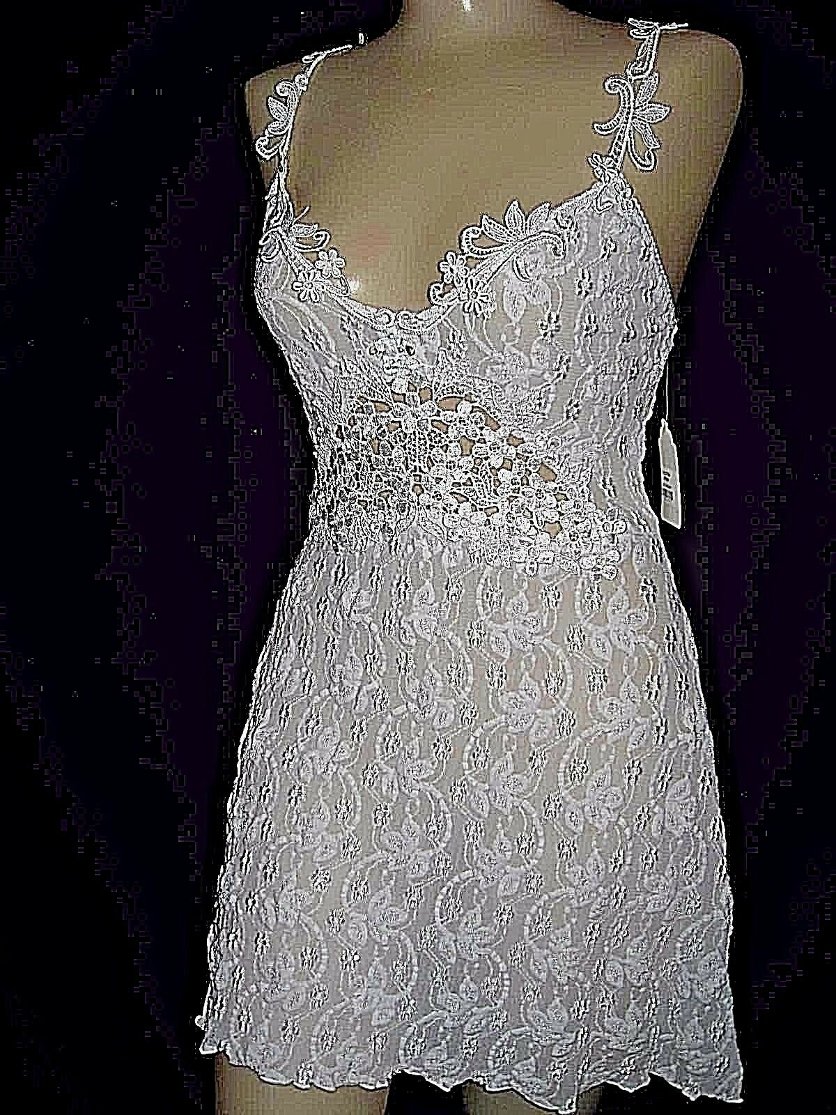 Claire Pettibone Chemise Nightie Signature Luxe Classic White Athena Lace M NeW