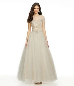 847fd0e1adbc Glamour By Terani Couture Silver/Nude T-Shirt Ballgown Prom/Wedding ...