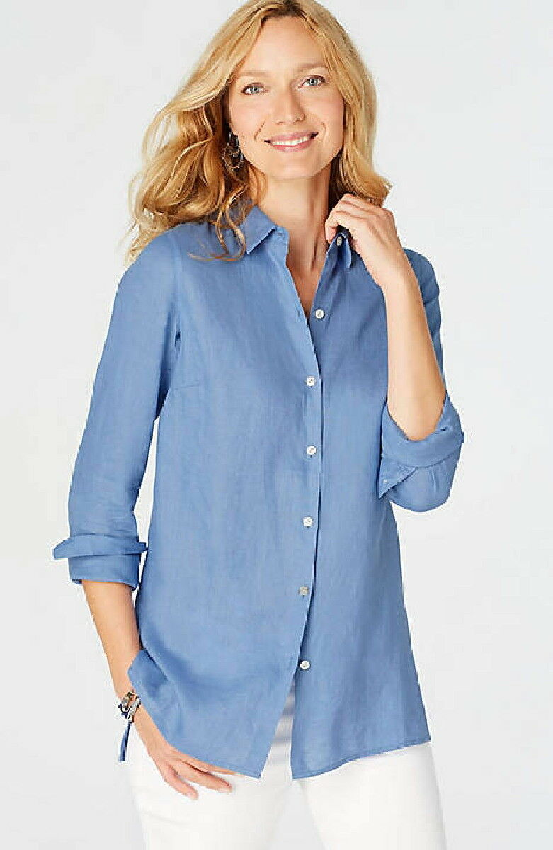 J.Jill     Linen   shirt      4X     NWT      Essential Linen ISLAND Blau