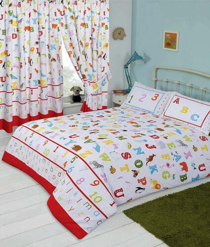 Lovely Kids ABC Alphabet Numbers And Animals Colourful Single Duvet Bedding Set