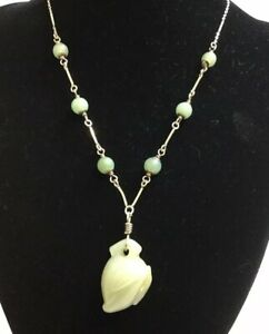 Vintage-Sterling-Silver-Chinese-Oriental-Jade-Necklace-Jade-Peach