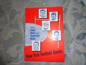1953 NEW YORK GIANTS MEDIA GUIDE Yearbook NFL Football Press Book Program NY AD