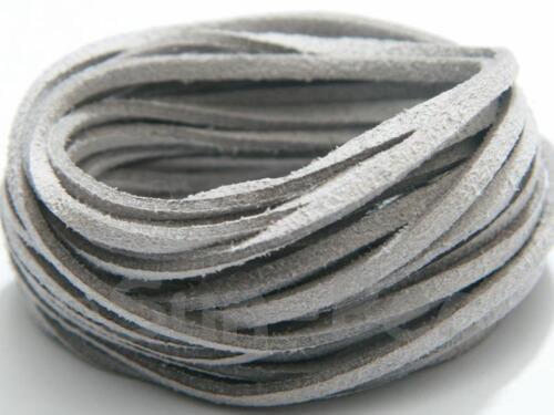 Plat en Cuir À faire soi-même 3 mm cordon Dentelle Corde Bijoux Artisanat Perles En Daim Synthétique 2-20 Yd