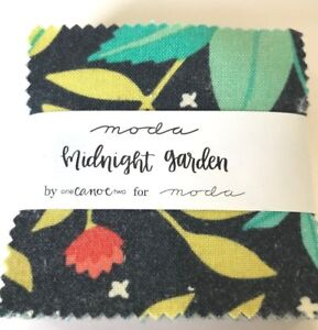 Midnight-Garden-by-One-Canoe-Two-Moda-fabric-MINI-Charm-Pack-2-5-034-squares