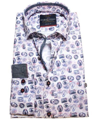 M bis 7XL Casa Moda Casual Fit Langarmhemd in weiss blau rot mit Motivdruck Gr