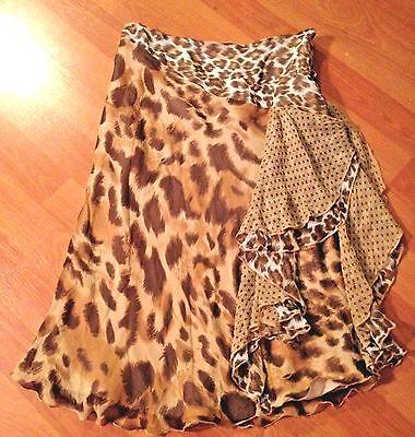 Silk Skirt by Sophia Michelle Los Angeles Sz 2  Beige Brown Flirty Side Ruffle