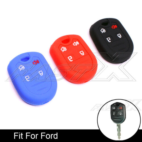 3 Color 4 Buttons Car Silicone Remote Key Fob Case Key Cover Protector for Ford