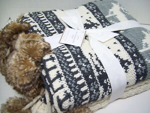 Pottery Barn Multi Colors Faux Fur Fair Isle Pom Pom Throw