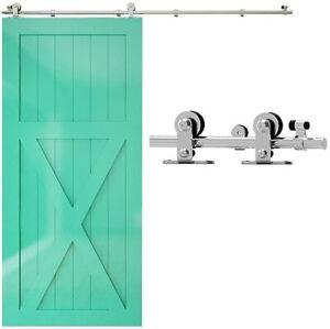 CCJH 5-16FT Stainless Steel Sliding Barn Door Hardware Closet Kit For Wood Door