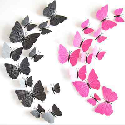 12pcs 3D Butterfly Wall Stickesr Art Decals Room Home DIY Decoration Removable
