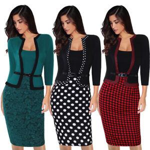 Elegant-Women-Business-Office-Work-Formal-Party-Belt-Bodycon-Sheath-Pencil-Dress