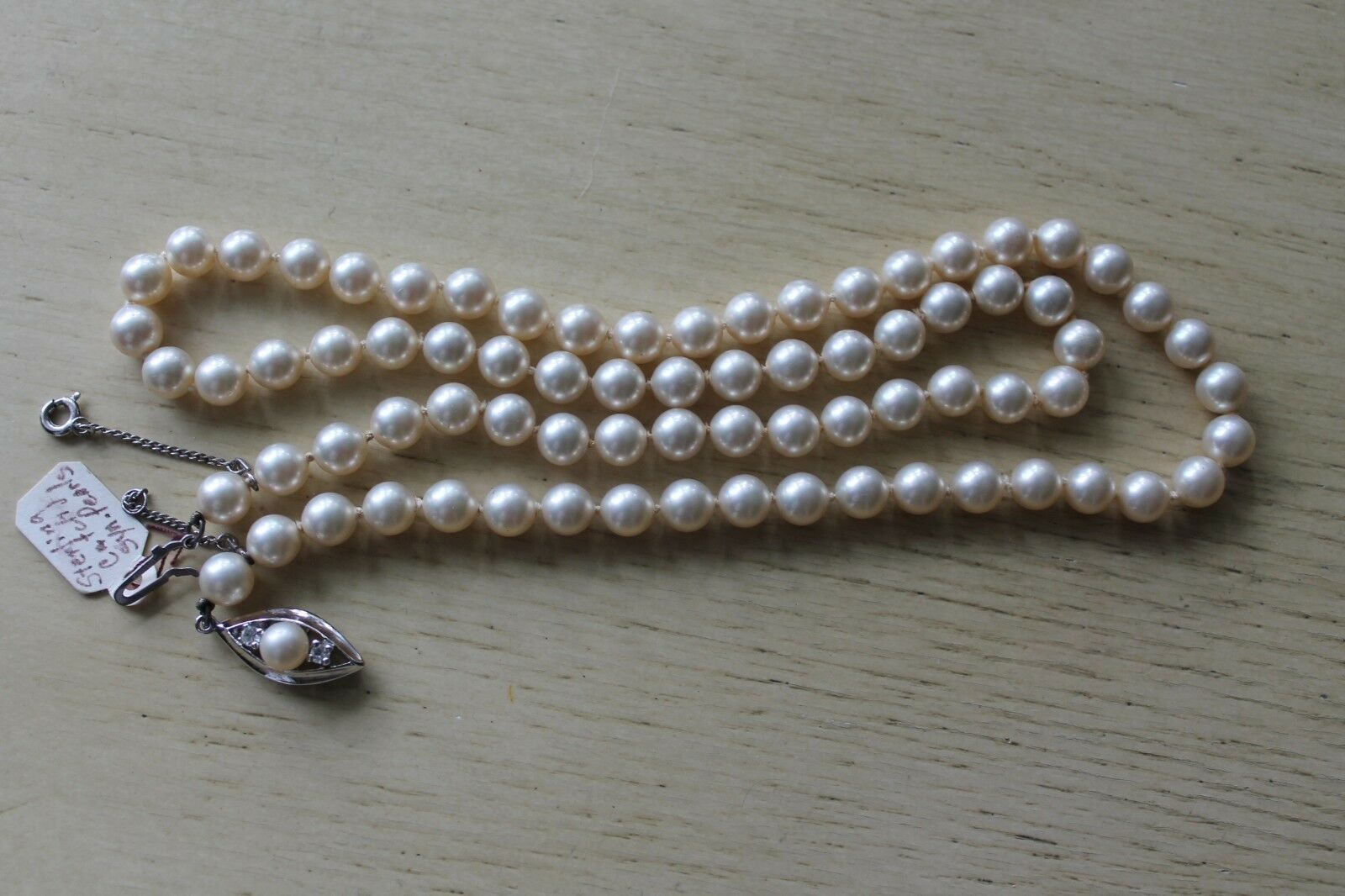Vintage Synthetic Pearl Bead Necklace Sterling Si… - image 6