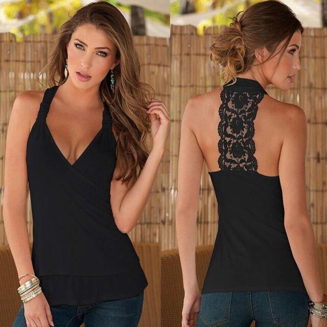Summer Womens Ladies Chiffon Lace Crochet Sleeveless Shirt Casual Blouse Tops