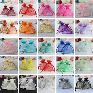 100pcs Sheer Organza Jewellery Pouches Packing Wedding Favour Christmas Gift Bag