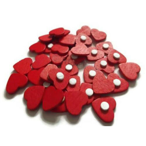 100* Red Love Hearts Self-Adhesive 3D Stickers Wooden Craft Ornament Valentines