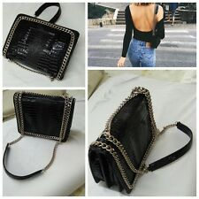 100% Real Leather NEW 2017 Popular Style  Chain Trim Shoulder Bag UK Seller