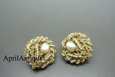 Vintage Miriam Haskell faux seed baroque pearl beaded filigree earrings
